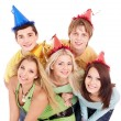 Group of young in party hat. — Stock Photo #5188988