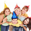 Group of young in party hat. — Stock Photo #5188990