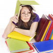 Girl with stack color book . — Stock Photo #5189211