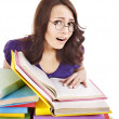 Girl with stack color book . — Stock Photo
