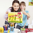 Child painting in preschool. — Stok fotoğraf