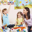 Children painting in preschool. — Stock fotografie