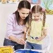 Child painting in preschool. — Foto Stock