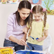 Child painting in preschool. — Foto de Stock