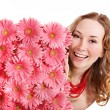 Young woman holding flowers. — Foto Stock