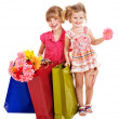 Stock Photo: Children with shopping bag.