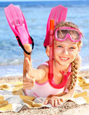 Child playing on beach. — Stock Photo