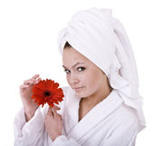 Beautiful young woman in spa. — Stock Photo