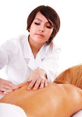Young woman getting massage back. — Stock Photo