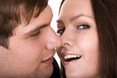 Couple of girl and man. Love and passion. — Stock Photo
