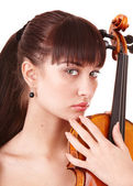 Beautiful young girl with fiddle. — Stock Photo