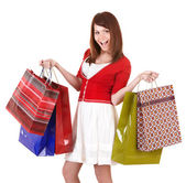 Girl holding group shopping bag. — Stok fotoğraf