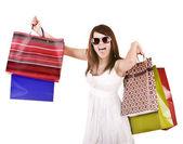 Dziewczyna w okularach białego z torbą na zakupy. — Zdjęcie stockowe