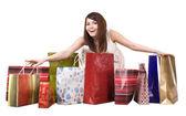 购物袋的女孩。隔离. — 图库照片