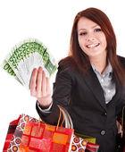 お金、ショッピング バッグを持つ女性実業家. — ストック写真