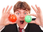 Businessman with group ball. — Stock Photo