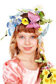Beautiful girl with butterfly and flower. — Stock Photo