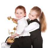 Children in business suit with telephone. — Stock Photo