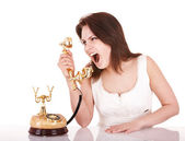 Aggressive young woman with phone. — Stock Photo