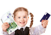 Happy child with money and credut card. — Stock Photo