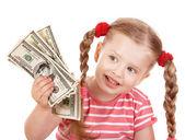 Happy child with money dollar. — Foto de Stock