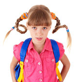 School girl with backpack. — Stock Photo