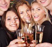 Group young at nightclub. — Stock Photo