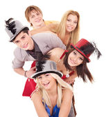 Group young in party hat. — Stock Photo