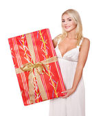 Girl holding gift box .. — Stock Photo