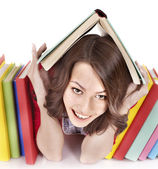 Girl with pile color book. — Stock Photo