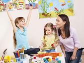 Children painting in preschool. — Stock Photo