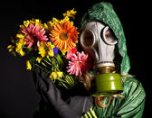 Young woman in gas mask . — Stock Photo