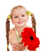 Child giving flower. — Stock Photo