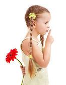 Child giving flower. — Stock Photo