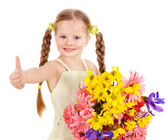 Thumb up of happy child. — Stock Photo