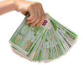 Money euro in female hand. — Stock Photo