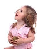 Child holding fruit. — Stock Photo