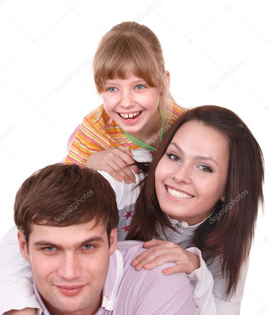 Happy family with little girl. Isolated. — Stock Photo #5187890