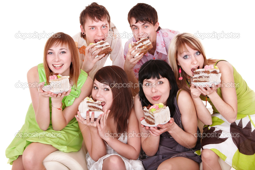 Group of happy young with cake. Isolated. — Stock Photo #5187971