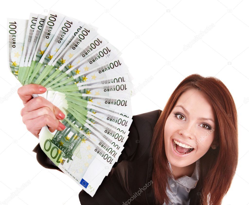 Young woman holding euro money.  Isolated. — Foto Stock #5188028