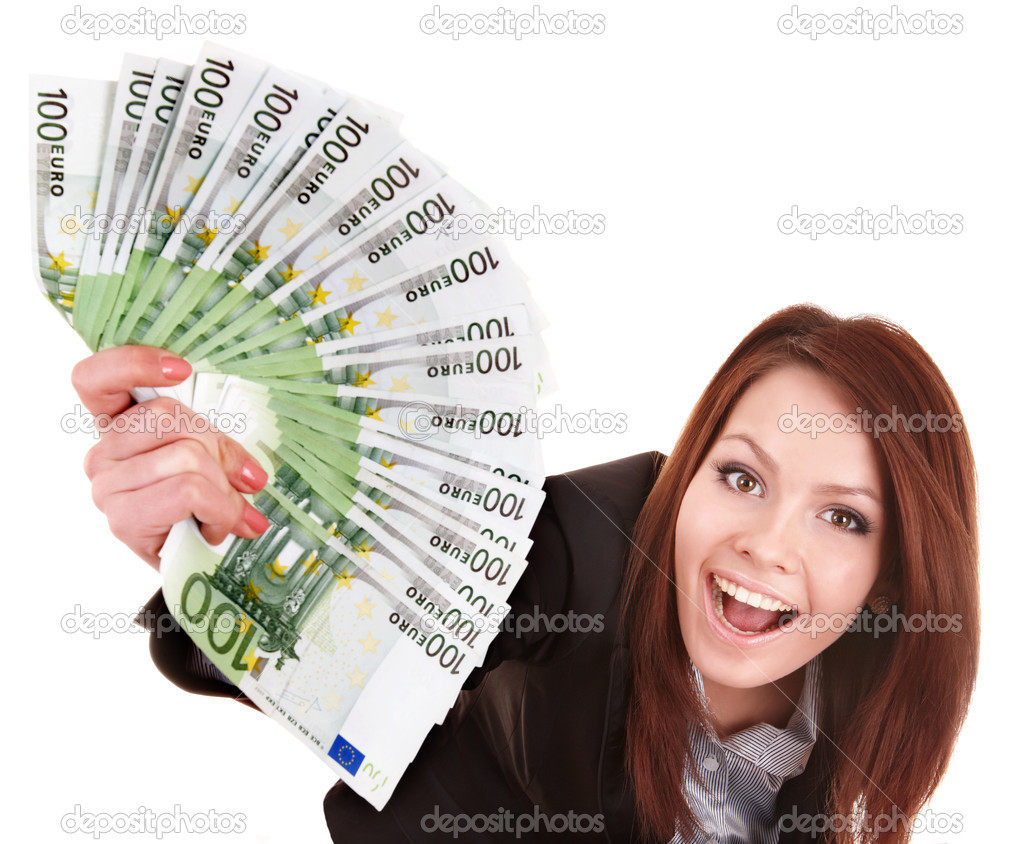 Young woman holding euro money.  Isolated. — Stok fotoğraf #5188028