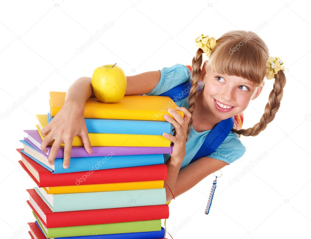 Schoolgirl with backpack holding pile of books. Isolated.  Stock Photo #5188703