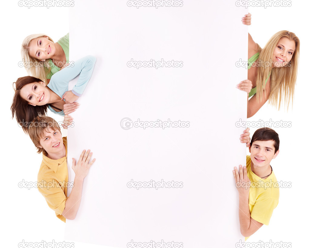 Group of happy holding banner. Isolated.  Stock Photo #5188985