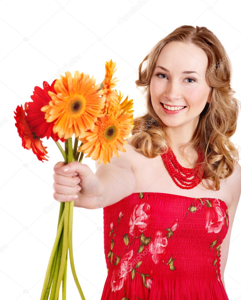 Happy young woman giving flowers stock photo 169 poznyakov