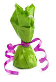 Chocolate cone candy wrapped in green — Stok fotoğraf