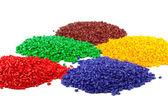 Färgglada plast granulat — Stockfoto