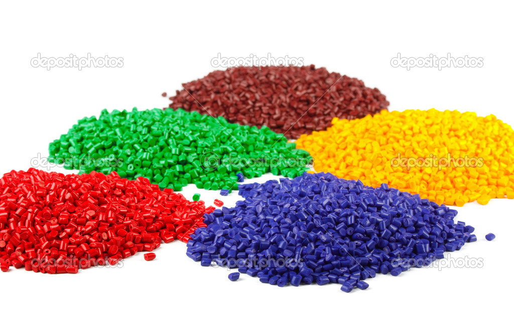 Colourful plastic polymer granules isolated on white — Stock Photo #4662293