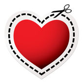 Cut out heart red — Stock Vector