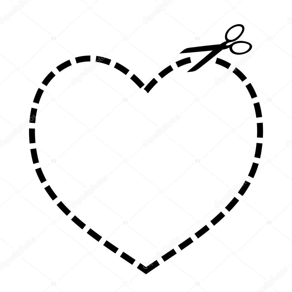 Вырезать из сердца.  Стоковая иллюстрация.