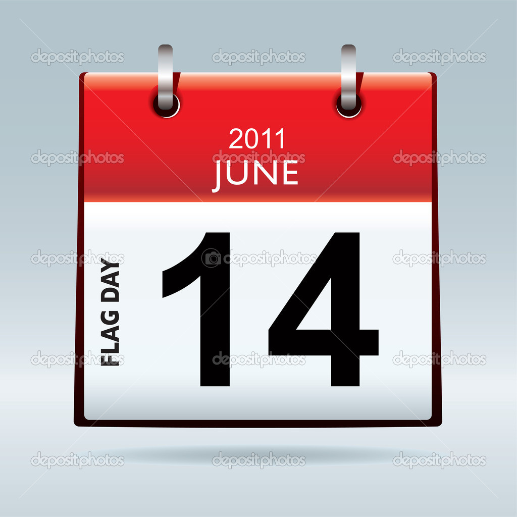 Red top flag icon symbol with flag day date and blue background — Векторная иллюстрация #5013437